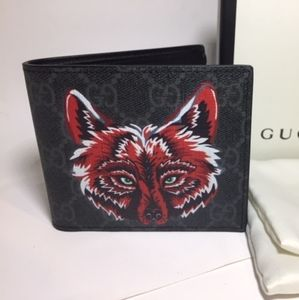 Gucci Wolf Black Wallet Authentic